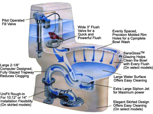 What are the differences in the flushing systems of TOTO toilets - G-Max
